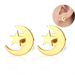 Vnox Elegant Moon  Stars Stud Earrings for Women Gold color Stainless Steel Earings Girl Gift