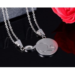 Music note pendant couples necklace set 2 pieces