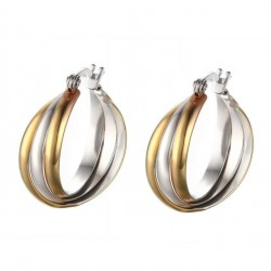 Vnox Unique Hoop Earring for Women Gold-color 316l Stainless Steel Female Rock Jewelry