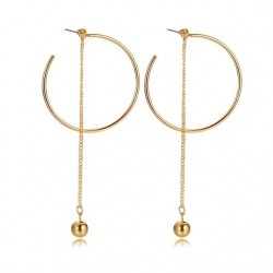Vnox Stylish Ball Charm Long Chain Drop Earrings for Women Large Gold-Color Daily Party Jewelry