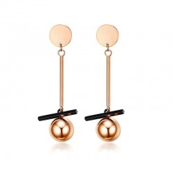 Vnox Rose Gold-color Earrings for Women Trendy Stainless Steel Long Drop Earrings Boucles Doreilles