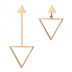 Vnox Triangle Shape Asymmetrical Women Drop Earrings Hollow Dangle Long Earrings Pink Gold-color Sta