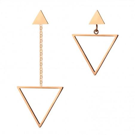 Vnox Triangle Shape Asymmetrical Women Drop Earrings Hollow Dangle Long Earrings Pink Gold-color Sta