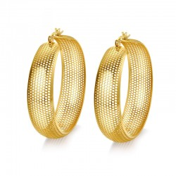 Vnox Large Hoop Earring for Women Hollow Gold-color Stainless Steel Not Allergy