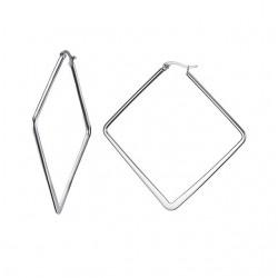 Vnox Silver Color Big Hoop Earrings Fashion Geometric Stainless Steel Earrings for Women Party Gift