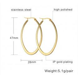 Vnox Simple Big Hoop Earrings for Women 316L Stainless Steel Earings Female Bijoux Jewelry