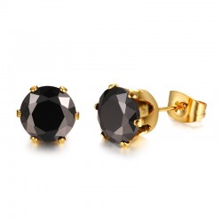 Vnox Classic Black CZ Stone Stud Earrings for Women Simple Design Well Cut Cubic Zirconia Stainless