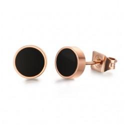 Black & white rose gold stud round earrings
