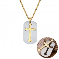 Vnox Removable Cross Pendant Necklace Gold-color Stainless Steel Men Chain Christian Jesus Necklace