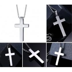 Vnox Classic Blank Cross Necklaces Prayer Christ Men Jewelry Stainless Steel Men Women Free Chain