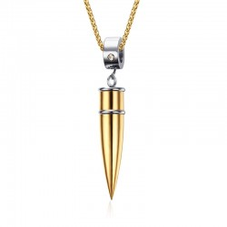 Vnox Bullet Necklace Pendant Titanium Steel Metal Promise Unswervingly Jewelry