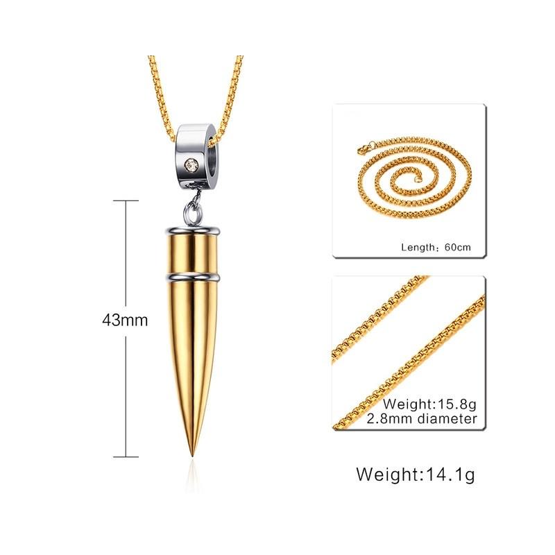 Bullet Shape Pendant Men's Necklace
