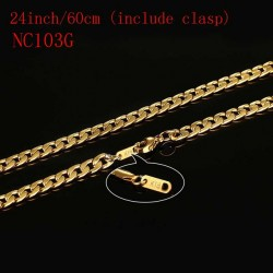 Vnox 24inch Gold-color Chain Necklace Long Stainless Steel Metal SnakeCableRound Box Chain