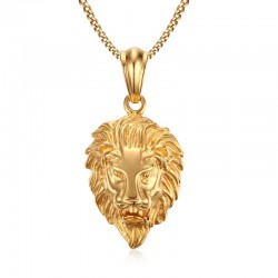 Lion Head Pendant Gold Necklace