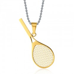 Vnox Cute Sport Stainless Steel Tennis Racket Pendants Necklaces for Women Free 24inch Chain
