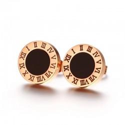 Vnox Numerals Letters Womens Stud Earrings Rose Gold-color Roman Love Earrings for Women Wedding Je
