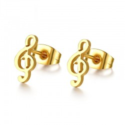 Muzyczna nuta - złote sztyftowe kolczyki