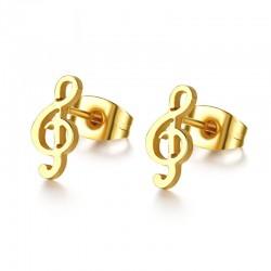 Orecchini a bottone con note musicali dorate