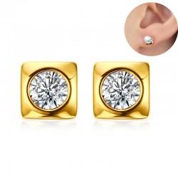 Runde quadratische goldene Kristallohrstecker