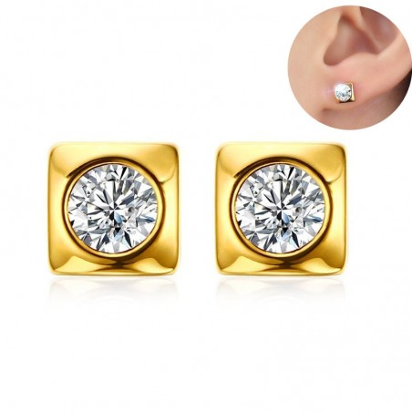 Vnox Shiny CZ Stone Stud Earrings for Women Wedding Gold-color Stainless Steel Geometric Earrings P