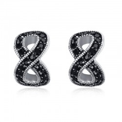 Vnox Infinity Black Crystal Stud Earrings for Women Trendy Female Earrings for Wedding Engagement