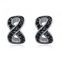 Zwarte kristallen infinity oorknopjes