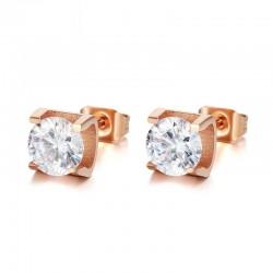Vnox CZ Stone Stud Earrings for Women Rose Gold color Stainless Steel Small Earings Girls Gift
