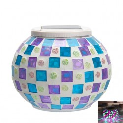 Solar Powered Mosaic Glass Ball Garden Light Lamp Waterproof