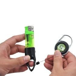Lighter holder with retractable keychain