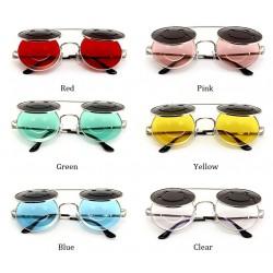 Gafas de sol unisex vintage steampunk redondos dobles