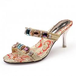 Sandalias para mujer con tacòn alto con diamantes de imitaciòn