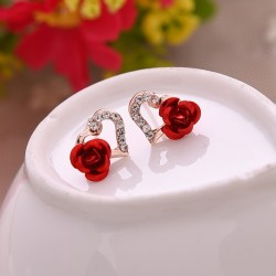 Heart & rose flower - crystal stud earrings