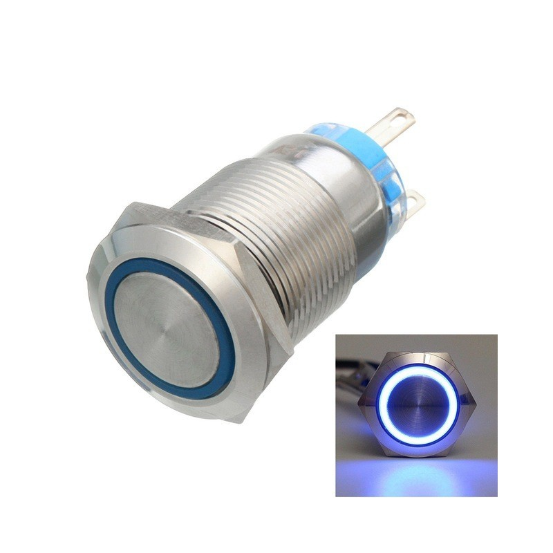 12v 5 Pin 19mm Led Light Stainless Steel Push Button Momentary Swit