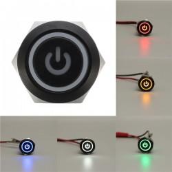 12V 5-pinowy 19mm Led Metalowy Wodoodporny Chwilowy Przełącznik Zasilania Z Przyciskiem Czarny
