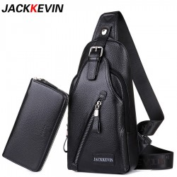 JACKKEVIN Business Men Genuine Leather Bag Natural Cowskin Men Messenger Bags Casual Mens Cowhide M