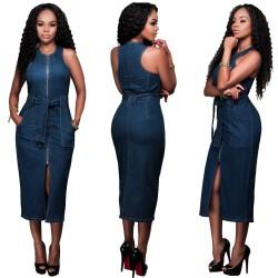 Jeans Reißverschluss Schlank Kleid