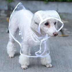 Wodoodporny płaszcz przeciwdeszczowy dla psów - przezroczysty