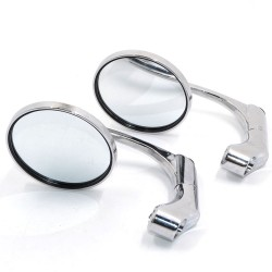 Universele motorfiets aluminium chromen ronde bar-end spiegels