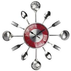 Metalowe sztućce ścienny zegar