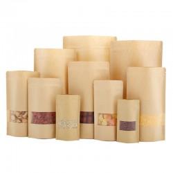 Bruine kraft papierzakken met ritssluiting met doorzichtig venster 50stuk