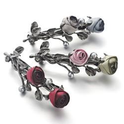 Broche à cheveaux avec roses cristal