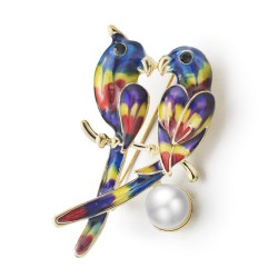 Broche avec oiseaux et perle