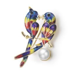 Twee papegaaien & parel broche