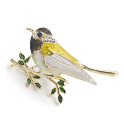 Dalaful Cute Oriole Bird Brooches Rhinestone Enamel Leaves Crystal Jewelry Men Womens Corsage Clips