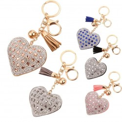 Rhinestone heart & tassel - keychain - keyring