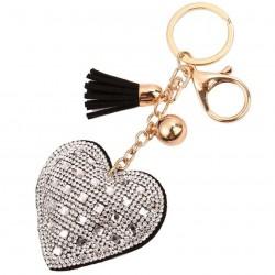 Kryształowe serce i frędzle breloczek do kluczy