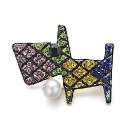 Colourful crystal dog brooch