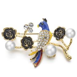 Papagei & blume - perle kristall brosche