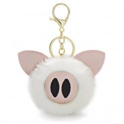 Futrzany pomponik - świnka - breloczek do kluczy