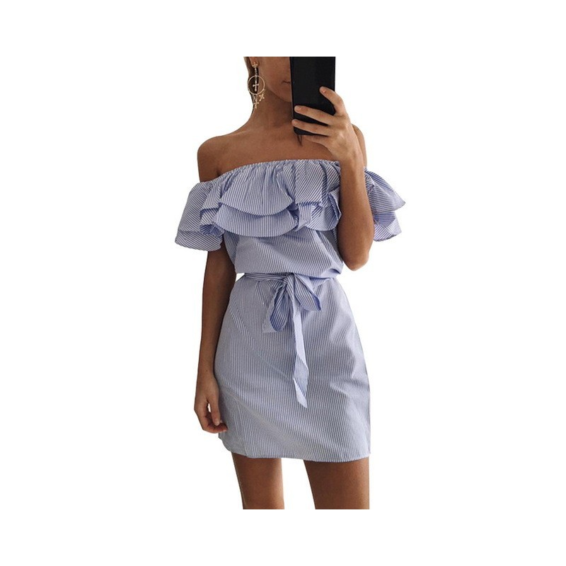 Off shoulder strapless gestreift minikleid mit rüschen